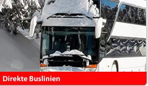 Direkte Buslinien in die Skiregionen