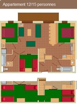 Grundriss Appartement 12/15 Personen