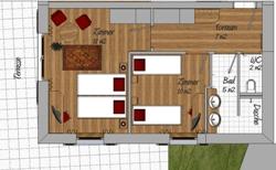 Neu renovierte Doppelzimmer in der Skiwelt Amade- Beispiel