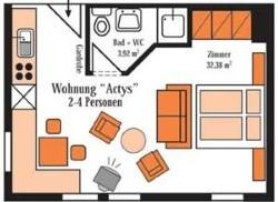 Grundriss Beispiel für die Ferienwohnung für 2-4 Personen