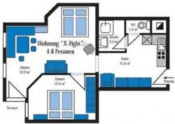 Grundriss Beispiel für die Ferienwohnung für 4-6 Personen