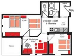 Grundriss Beispiel für die Ferienwohnung für 4-8 Personen