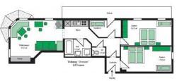 Grundriss Beispiel für die Ferienwohnung für 4-9 Personen